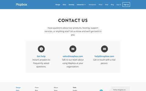 Screenshot of Contact Page mapbox.com - Contact | Mapbox - captured Dec. 17, 2014