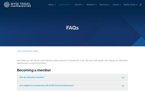 Screenshot of FAQ Page wysetc.org - FAQs - WYSE Travel Confederation - captured Sept. 22, 2018