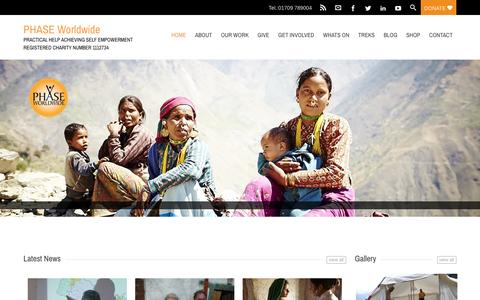 Screenshot of Home Page phaseworldwide.org - Achieving Self Empowerment in Nepal - PHASE Worldwide - captured Dec. 6, 2015
