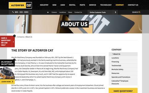Screenshot of About Page altorfer.com - About Us | Altorfer Cat - captured Feb. 5, 2016