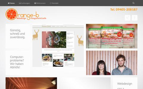 Screenshot of Home Page orange-b.de - Orange-b Webdesign, Fotografie und Grafik in Bad Abbach und Landshut - Orange-b Webdesign, Fotografie und Grafik Bad Abbach-Landshut - captured Sept. 28, 2018