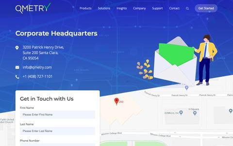 Screenshot of Contact Page qmetry.com - Contact - QMetry - captured April 9, 2019