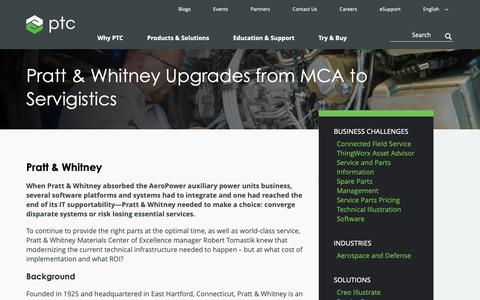 Screenshot of Case Studies Page ptc.com - Pratt & Whitney Upgrades from MCA to Servigistics | PTC - captured Nov. 13, 2018