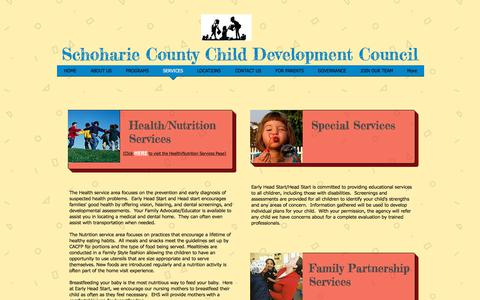 Screenshot of Services Page sccdcny.org - sccdc | SERVICES - captured Oct. 6, 2017