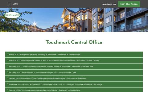 Screenshot of Press Page touchmark.com - Touchmark Central Office News - captured May 30, 2019