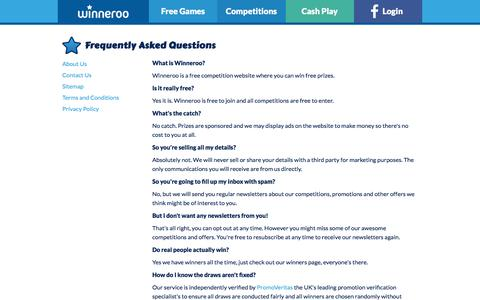 Screenshot of FAQ Page winneroo.co.uk - Frequently Asked Questions - Winneroo - captured Sept. 20, 2018
