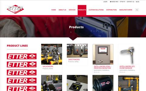 Screenshot of Products Page etterengineering.com - Products - Etter Engineering Company - captured Nov. 18, 2015