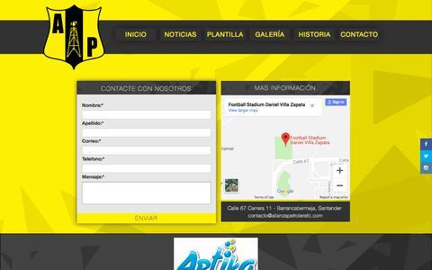 Screenshot of Contact Page alianzapetrolerafc.com - Alianza Petrolera F.C. - captured Sept. 22, 2018
