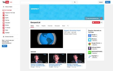 Screenshot of YouTube Page youtube.com - GenpactLtd  - YouTube - captured Oct. 26, 2014