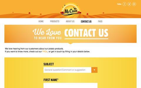 Screenshot of Contact Page mccain.co.uk - Contact Us | McCain - captured Nov. 28, 2016