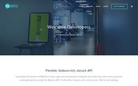 Screenshot of Developers Page mystro.co - Developers – Mystro | Business Management Software, Scheduling Software and Online Booking - captured Feb. 15, 2016