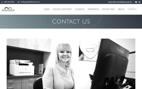 Screenshot of Contact Page milldental.com - Contact Us, Our Location   Millennium Dental Associates Scottsdale, AZ - captured Oct. 7, 2019