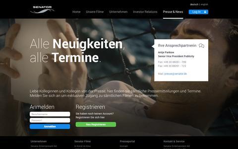 Screenshot of Press Page senator.de - Senator Presse - captured Nov. 4, 2014