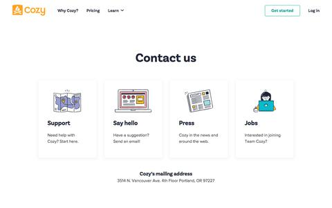 Screenshot of Contact Page cozy.co - Contact us - Cozy - captured July 21, 2018