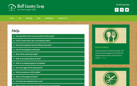 Screenshot of FAQ Page bluff.coop - Winona's community-owned, cooperatively run grocery store and deli - Bluff Country Co-op - Winona MN - captured Oct. 10, 2017