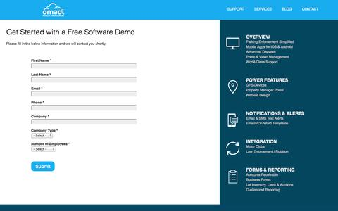 Screenshot of Support Page omadi.com - Get Started with a Free Demo | Omadi - captured Sept. 30, 2014