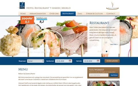 Screenshot of Menu Page hotel-het-anker.nl - Menu | Hotel Restaurant 't Anker - Mierlo - captured Jan. 31, 2016