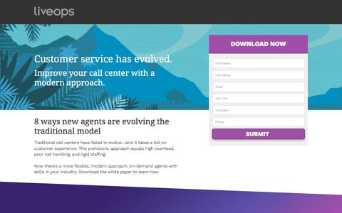 Screenshot of Landing Page liveops.com - Liveops, Inc. | Call Center Services | Virtual Customer Service and Contact Center BPO - captured May 28, 2018
