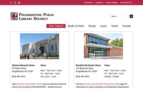Screenshot of Locations Page poklib.org - Locations, Hours & Parking – Poughkeepsie Public Library District - captured Sept. 29, 2018