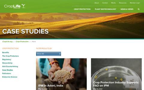 Screenshot of Case Studies Page croplife.org - Case Studies |  CropLife International - captured Sept. 15, 2017