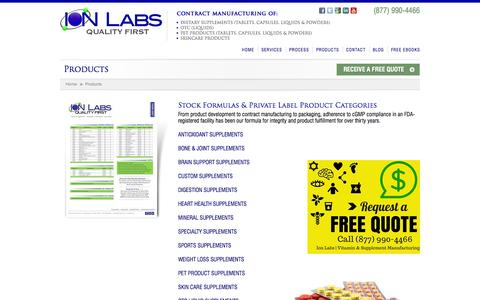 Screenshot of ionlabs.com - Products - Ion Labs - captured Oct. 4, 2015