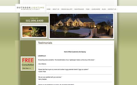 Screenshot of Testimonials Page olpky.com - Testimonials - Outdoor Lighting Prospectives of Kentucky, Louisville & Lexington. | Outdoor Lighting Prospectives of Kentucky, Louisville - Lexington - captured Oct. 6, 2014