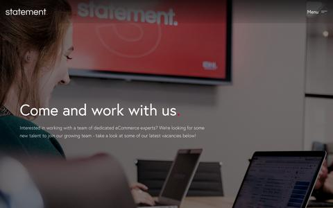 Screenshot of Jobs Page statementagency.com - Careers | Shopify Plus Partner eCommerce Agency in Leeds, London & Manchester - captured Oct. 10, 2019