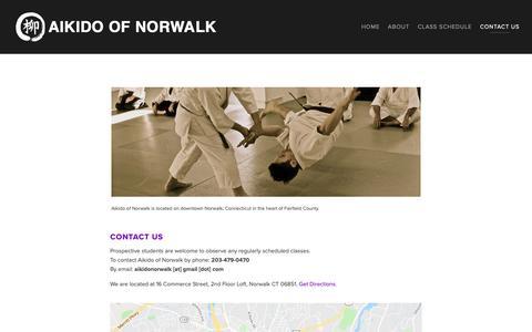 Screenshot of Contact Page aikidonorwalk.com - Contact Aikido of Norwalk, 16 Commerce St. Norwalk, CT — Aikido of Norwalk - captured Oct. 2, 2018