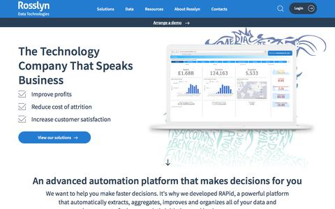 Screenshot of Home Page rosslyndatatech.com - Rosslyn | Home - captured Aug. 20, 2019