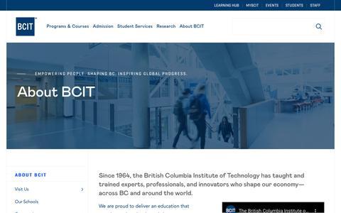 Screenshot of About Page bcit.ca - About BCIT – BCIT - captured Jan. 16, 2020