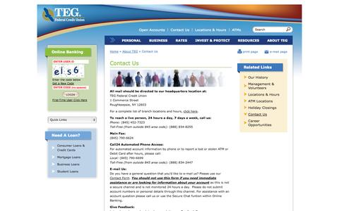 Screenshot of Contact Page tegfcu.com - Contact Us | TEG Federal Credit Union - captured Oct. 6, 2014