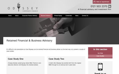 Screenshot of Case Studies Page odysseycf.com - Case Studies | Odyssey Corporate Finance - captured Dec. 1, 2016