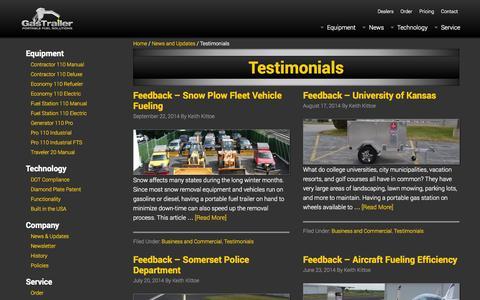 Screenshot of Testimonials Page gastrailer.com - Testimonials | Gas Trailer - captured Sept. 29, 2014
