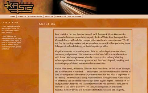 Screenshot of About Page kasslogistics.com - About Kass Logistics - captured Feb. 12, 2016