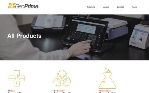 Screenshot of Products Page genprime.com - GenPrime - captured Sept. 27, 2018