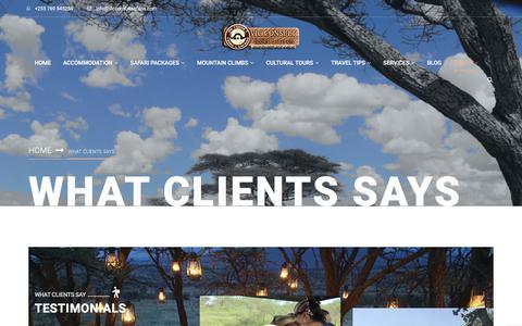 Screenshot of Testimonials Page vicconsultsafaris.com - What Clients says   African Safari Packages   Tanzania safaris   Vic Consult safaris - captured Oct. 26, 2017