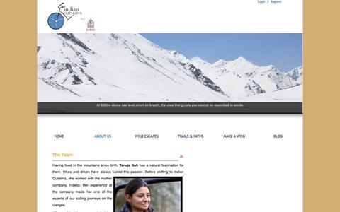 Screenshot of Team Page indianoutskirts.com - contact our team to discover new adventures - captured Sept. 30, 2014