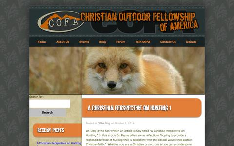 Screenshot of Blog cofausa.org - Blog | Christian Outdoor Fellowship of America - captured Oct. 2, 2014