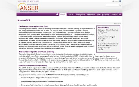 Screenshot of About Page northwestern.edu - About ANSER | ANSER Center | Argonne-Northwestern National Laboratory - captured Sept. 18, 2014
