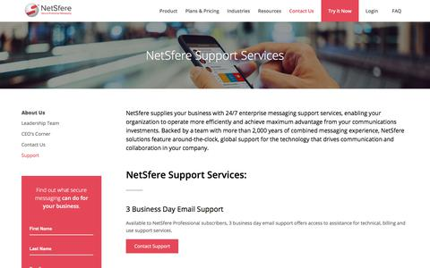 Screenshot of Support Page netsfere.com - Secure Enterprise Messaging from NetSfere - Support and Service - captured July 8, 2018