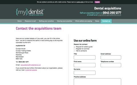 Screenshot of Contact Page mydentist.co.uk - mydentist.co.uk | Acquisitions Contact - captured Jan. 5, 2017