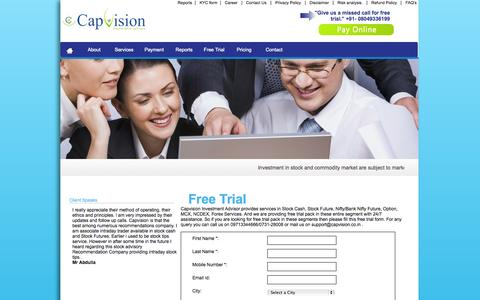 Screenshot of Trial Page capvision.co.in - Free Intraday Tips, Free Share Market Tips, Free Stock Tips - captured Oct. 1, 2014
