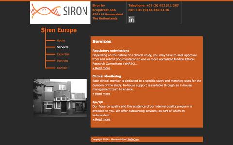 Screenshot of Services Page sironeurope.com - Services – Siron Europe - captured Oct. 3, 2014