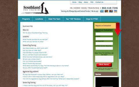 Screenshot of FAQ Page southlanddogtraining.com - Southland Dog Training  FAQ - Southland Dog Training - captured June 24, 2016