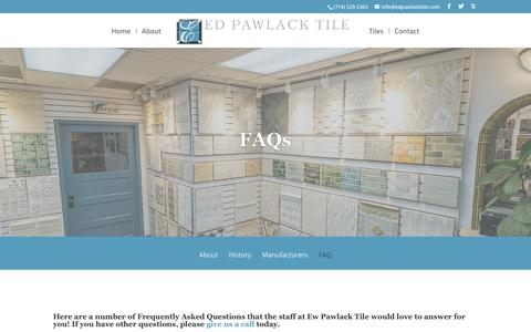 Screenshot of FAQ Page edpawlacktile.com - FAQ - Ed Pawlack Tile - captured Sept. 27, 2018
