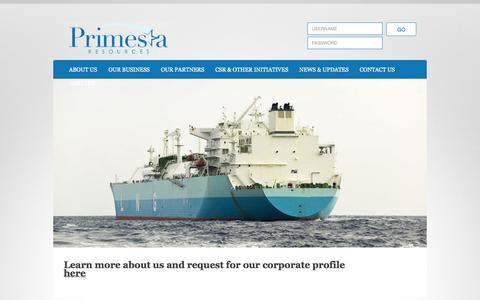 Screenshot of Home Page primestaresources.com - Primesta Resources | Our mission is to facilitate international placement of a wide range of commodity types. - captured Oct. 3, 2014