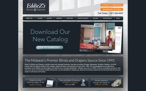 """Screenshot of Home Page eddiezs.com - Eddie Z's Blinds & Drapery — """"Nobody does blinds and drapery better... Nobody!""""™ - captured Oct. 2, 2014"""