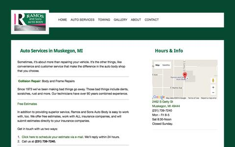 Screenshot of Services Page ramosautobody.com - Auto Services in Muskegon, MI | Ramos and Sons - captured Feb. 17, 2016
