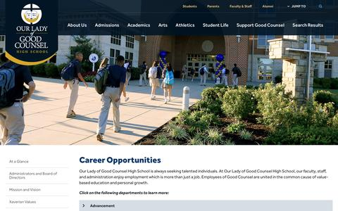Screenshot of Jobs Page olgchs.org - Career Opportunities - Our Lady of Good Counsel High School - Olney, MD - captured Nov. 30, 2016