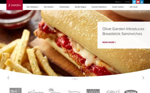 Screenshot of Home Page darden.com - Darden Restaurants: A Leader in the Full-Service Restaurant Industry - captured Oct. 7, 2015